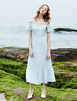 MaskedQueen Women's Going out Casual/Daily Beach Vintage Simple Cute Chiffon DressSolid Striped Boat Neck Midi Short Sleeve Others Summer High Rise