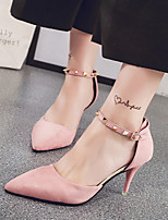 Women's Heels Spring Summer Club Shoes Pump OL Style All Match Grace Comfort Suede Office & Career Dress Stiletto Heel Rivet Buckle