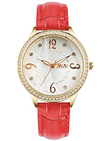 Women's Fashion Watch Japanese Quartz / Genuine Leather Band Casual White Red Red White