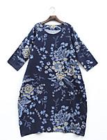 Для женщин На каждый день Свободный силуэт Платье Цветочный принт С принтом,Круглый вырез Макси Длинный рукав Хлопок Весна ЛетоСо