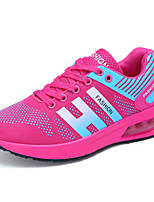 Women's Athletic Shoes Spring Summer Mary Jane Comfort Tulle Outdoor Athletic Casual Running Flat Heel Lace-up Blue Fuchsia Black
