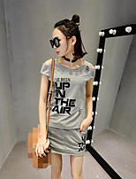 Women's Going out Casual/Daily Sports Vintage Cute Street chic Summer T-shirt Skirt Suits,Letter Round Neck Short Sleeve