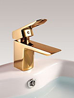 Luxury Deck Mounted Waterfall with  Ceramic Valve Single Handle One Hole for  Ti-PVD  Bathroom Basin Sink Faucet