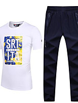 Men's Short Sleeve Running Summer Sports Wear Leisure Sports Cotton Slim White Black Beige