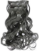7pcs/Set 130g Dark Black Wavy 50cm Hair Extension Clip In Synthetic Hair Extensions