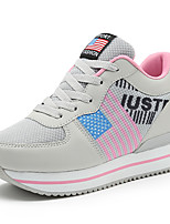 Women's Sneakers Spring Fall Comfort PU Outdoor Casual Lace-up Light Grey Fuchsia Black