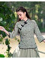 Blommig Trekvartsärm Utekväll Polo,Vintage Dam Hög krage Polyester