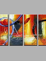 Pintada a mano Abstracto Vertical,Modern Cuatro Paneles Lienzos Pintura al óleo pintada a colgar For Decoración hogareña