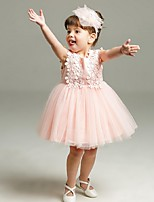 Ball Gown Short / Mini Flower Girl Dress - Organza Jewel with Appliques Bow(s) Ruffles
