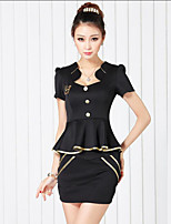 Women's Going out Party/Cocktail Sexy Cute T-shirt Skirt Suits,Solid V Neck Short Sleeve