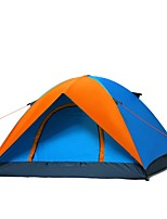 3-4 persons Tent Double One Room Camping TentCamping Traveling-Blue Orange