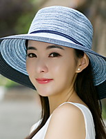 Woman Summer Seaside Sun Foldable Beach Travel Bowknot Tassel Straw Hat