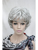 New Wavy Curly Light Grey Short Synthetic Hair Full Women's  Wig For Everyday