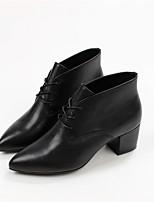 -Для женщин-Для прогулок Повседневный-Кожа-На толстом каблуке-Удобная обувь-Ботинки