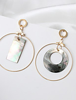 Drop Earrings Euramerican Fashion Cowry Alloy Circle Rectangle Gold Jewelry 1 Pair