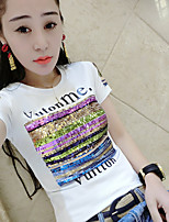 Women's Beach Street chic T-shirt,Print Round Neck Short Sleeve Cotton