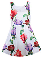 Girls Dress Rose Flower Print Cute Dresses Party Pageant Wedding Children Clothing Summer Clothes