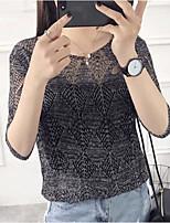 Damen Solide Einfach Lässig/Alltäglich T-shirt,V-Ausschnitt Frühling Sommer ½ Länge Ärmel Polyester Mittel