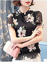 Women's Casual/Daily Simple Blouse,Print Crew Neck Short Sleeve Polyester Thin