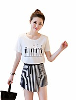 Women's Going out Casual/Daily Simple Cute T-shirt Skirt Suits,Animal Print Round Neck