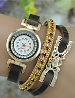 Women's Fashion Watch Bracelet Watch Quartz Rhinestone Colorful Leather Band Bangle