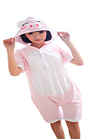 Kigurumi Pajamas Piggy/Pig Leotard/Onesie Festival/Holiday Animal Sleepwear Halloween Pink Solid Cotton Cosplay Costumes ForUnisex Female
