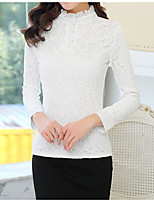 Women's Casual/Daily Simple Blouse,Solid Stand Long Sleeve Cotton Thick