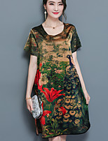 Women's Plus Size Casual/Daily Sexy Simple Loose Dress,Animal Print Round Neck Above Knee Short Sleeve Silk Summer Mid Rise Inelastic