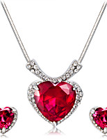 Earrings Set Necklace Charms Imitation Ruby Euramerican Fashion Crystal Alloy Heart 1 Necklace 1 Pair of Earrings ForWedding Party