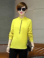 Women's Casual/Daily Work Street chic Spring Summer Blouse,Solid Stand Long Sleeve Polyester Thin