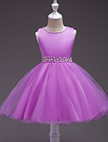 Ball Gown Short / Mini Flower Girl Dress - Satin Tulle Jewel with Bow(s) Crystal Detailing Pearl Detailing Sash / Ribbon