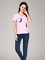 Women's Going out Sexy Simple Summer T-shirt,Embroidered Round Neck Short Sleeve Linen Medium