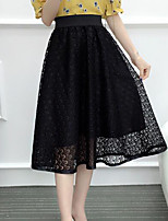 Women's High Rise Midi Skirts A Line Swing Solid