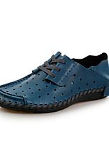 Синий Темно-русый Темно-коричневый-Для мужчин-Для прогулок-Кожа-На плоской подошве-Мокасины-Туфли на шнуровке