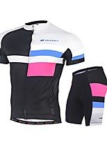 NUCKILY® Cycling Jersey with Shorts Men's Short Sleeve Bike Breathable Sweat-wicking Comfortable Sunscreen Triathlon/Tri SuitPolyester
