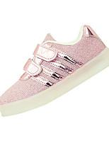 Girls' Athletic Shoes Spring Summer Comfort PU Athletic Casual Flat Heel LED Hook & Loop Blushing Pink Blue Gold Running