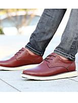 Zapatillas de deporte de los hombres de la oficina de la piel de cerdo de la comodidad&Carrera casual oscuro marrón luz negro marrón