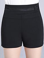 Feminino Estilo Romântico Cintura Alta Micro-Elástico Shorts Calças,Delgado Cor Única,Paetês Com Fenda