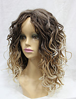 Capless Heat Resistant Synthetic Tone Ombre Curly Black Root  Light Golden Brown Mix Gloden Blonde Long Wavy Wig