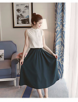 Women's Going out Casual/Daily Vintage Simple Shirt Skirt Suits,Solid Crew Neck