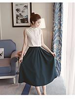 Damen einfarbig Vintage Einfach Ausgehen Lässig/Alltäglich Shirt Rock Anzüge,Rundhalsausschnitt