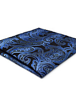 CH23 New Business Mens Handkerchiefs Pocket Square Blue Black Paisley 100% Silk Fashion Unique