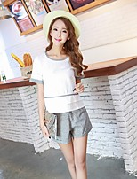 Women's Casual/Daily Simple T-shirt Pant Suits,Solid Round Neck Short Sleeve