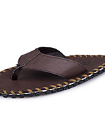 Men's Slippers & Flip-Flops Summer Light Soles PU Casual Dark Brown Black