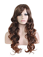 Long Deep Wave Side Brown Women Synthetic Wig Fiber Cheap Cosplay Party Hair