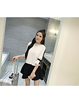 Women's Casual/Daily Holiday Simple Spring Shirt Dress Suits,Solid Round Neck Long Sleeve Cotton Inelastic