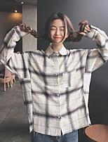 Women's Going out Simple Shirt,Check Shirt Collar Long Sleeve Cotton