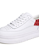 Women's Sneakers Spring Fall PU Casual Lace-up White/Silver Red/White