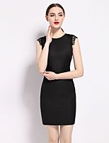 Women's Going out Sophisticated Sheath Dress,Solid Embroidered Round Neck Above Knee Sleeveless Polyester Summer Mid Rise Inelastic Medium