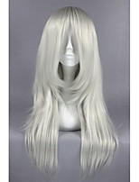 Médio bakuman curl prata branco anime 26inch cosplay peruca cs-162e